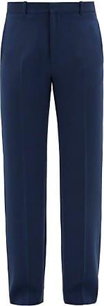 Balenciaga Logo-embroidered Stretch-gabardine Trousers - Mens - Blue