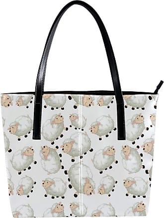 Nananma Womens Bag Shoulder Tote handbag with Lovely Sheep Print Zipper Purse PU Leather Top-handle Zip Bags