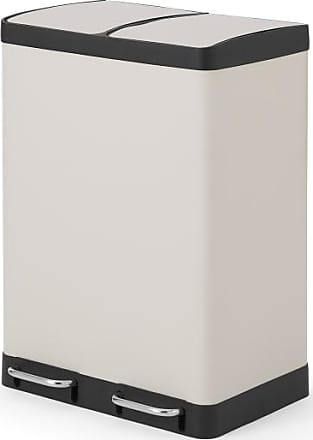 MADE.COM Colter, poubelle tri sélectif 60L (2 bacs 30L) fermeture soft close, gris froid