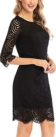Generic Dress Spring and Summer Lace Flower Mesh Dress Temperament Fashion Seven-Point Sleeves Black
