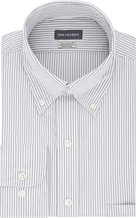 Van Heusen Mens Pinpoint Regular Fit Stripe Button Down Collar Dress Shirt, Iced Grey, L (Neck 41 cm Sleeve 91/94 cm)