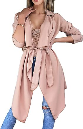 junkai Ladies Waterfall Long Duster Belted Outerwear Trench Coat Solid Color Windbreaker Jacket Irregular Hem Cardigan Lapel Coat Pink XL