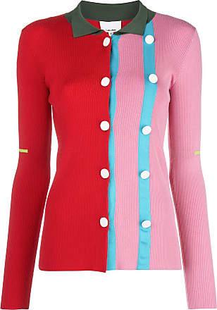I-am-chen Cardigan color block com botões - Rosa