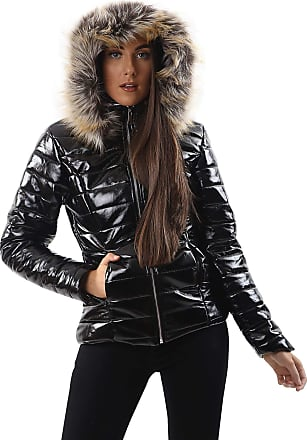 Love my Fashions Georgia Quilted Faux Fur Hooded Long Sleeve Padded Jacket Black