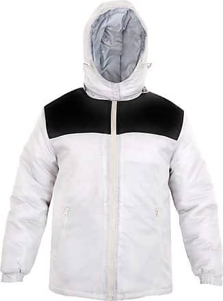 Parsa Fashions Mens Jacket Stylish Padded Shell Contrast Puffer Bubble Warm Thick Coat Jackets M-XXL (M, White - Black)