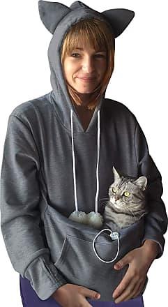 Dresswel Women Kangaroo Pocket Hoodie Pet Holder Pouch Cat Eared Sweatshirt Long Sleeve Pullover Top Dark Grey