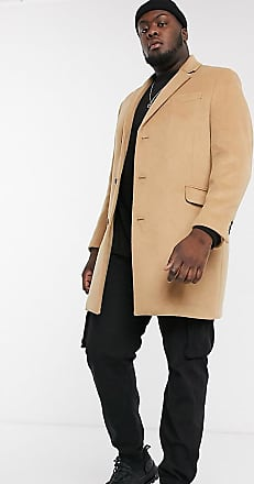 Topman Big & Tall overcoat in camel-Brown