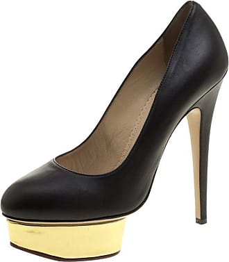 91587d09647 Charlotte Olympia Black Leather Dolly Platform Pumps Size 38.5