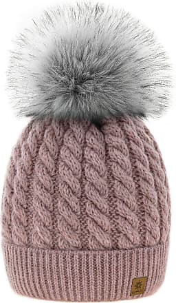 4sold Womens Ladies Beanie Hat Pom Pom Warm Winter Natural Wool Mohair Lining Full Cosy Fleece Liner (Carla Rouse Pink)