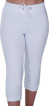 Eyecatch Nova Ladies Capri Crop Jogger Pants Gym Bottoms Womens 3/4 Cropped Trousers Small/Medium White