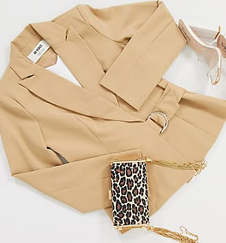 4th + Reckless Petite suit blazer with side buckle in camel-Tan