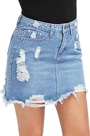 Inlefen Skirt for Women Denim Mini Skirt High Waisted Summer Casual Pencil Skirts(Blue-L)