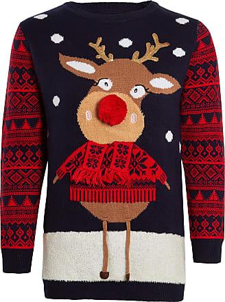 Love Celeb Look Kids Unisex Knitted Rudolph Christmas Jumper Fairisle Bambi Pom Pom Reindeer Santa