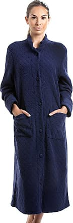 Camille Soft Fleece Full Length Button Up Housecoat 12/14 Navy Blue