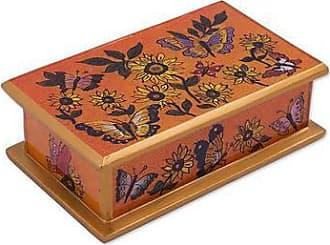 Novica Reverse painted glass decorative box, Sunflower Party
