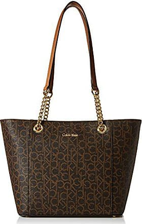 Calvin Klein Hayden Signature East/West Top Zip Chain Tote, Brown/Khk/Buff