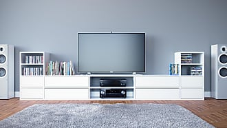 MYCS TV-Schrank Weiß - Moderner Fernsehschrank: Schubladen in Weiß - 303 x 80 x 35 cm, konfigurierbar