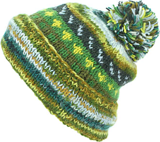 Loud Elephant Chunky Wool Knit Abstract Pattern Beanie Bobble Hat - Green