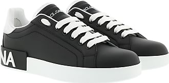 Dolce & Gabbana Sneakers - Portofino Sneakers Calf Leather Black/Silver - black - Sneakers for ladies