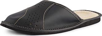 Ladeheid Mens Slippers House Shoes LAFA075 (Black, 43 EU = 9 UK)