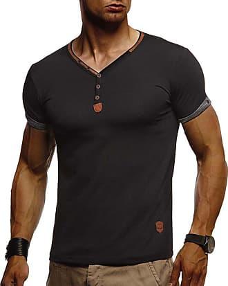 LEIF NELSON Mens T-Shirt V-Neck LN-1390 Black Medium