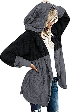 FNKDOR Womens Winter Warm Fluffy Fleece Hooded Pullover Oversized Draped Pockets Cardigan Coat Jacket Outwear Black