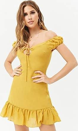 Forever 21 Forever 21 Flounce-Hem Mini Dress Mustard