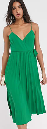 Asos pleated cami wrap midi dress in green