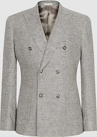Reiss Extra - Puppytooth Linen Blazer in Grey, Mens, Size 36