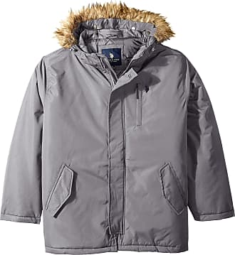 U.S.Polo Association mensHooded Parka Hooded Down Alternative Outerwear Coat - Gray - Large