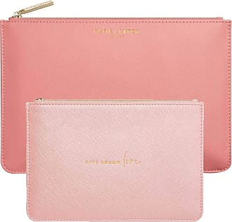 Katie Loxton Live Laugh Love Womens Vegan Leather Clutch Perfect Pouch Boxed Set of 2 Oyster Pink