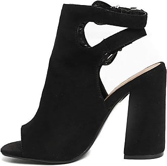 Ikrush Hatti Buckle Peep Toe Ankle Boot Black UK 8