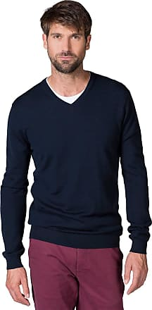 WoolOvers Mens New Merino V Neck Knitted Sweater Navy, XL