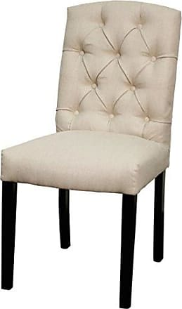New Pacific Direct Philip Fabric Dining Chair,Dark Brown Legs,Sand,Fully Assembled,Set of 2