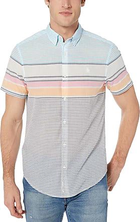Original Penguin Mens Short Sleeve Stripe Button Down Shirt, Sargasso Sea Lawn, Medium
