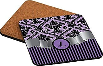 Rikki Knight Rikki Knight Letter L Initial Purple Damask and Stripes Monogrammed Design Square Beer Coasters