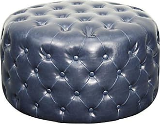New Pacific Direct Lulu Round Bonded Leather Tufted Ottoman,Vintage Blue,Fully Assembled