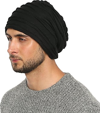 DonDon Mens Jersey Classic Slouch Beanie for wear all year round breathable soft and suitable for heads of all sizes - Black Lines