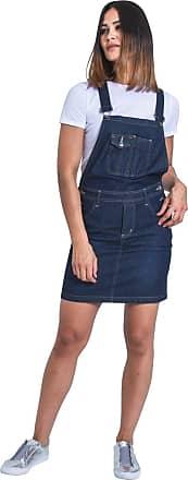 Uskees Short Denim Dungaree Dress - Darkwash Bib Overall Skirt Braces Straps ISABELLEDW-10