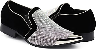 Enzo Jeans Romeo Crisiano Men Rhinestone Chrome Toe Suede Pointy Dress Loafer Slip On Shoes Silver Size: 12