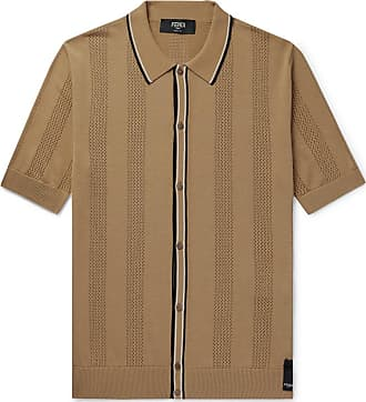 84a2ae21b21 Fendi Contrast-tipped Perforated Stretch-knit Polo Shirt - Tan