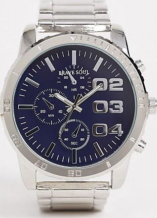 Brave Soul mens bracelet watch with blue dial-Silver