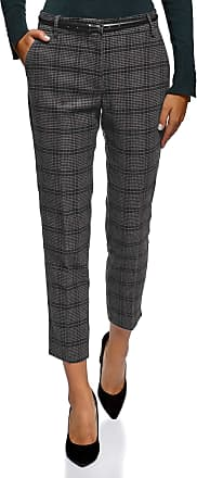 oodji Collection Womens Checkered Trousers in Heavyweight Fabric, Grey, UK 12 / EU 42 / L