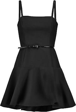 db76878be8d6 Halston Heritage Halston Heritage Woman Belted Fluted Cotton And Silk-blend Mini  Dress Black Size