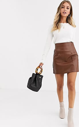 Glamorous mini skirt in faux croc-Brown