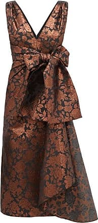 Erdem Rosalie Sash-waist Floral-brocade Tea Dress - Womens - Brown Multi
