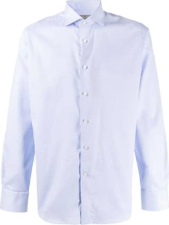 Canali Camisa slim mangas longas - Azul