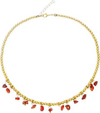 Renata Rancan Colar Choker Pedra Natural Semijoia Banho em Ouro 18K - Vermelho