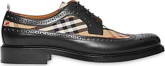 Burberry Sapato derby de couro com detalhe xadrez - Preto