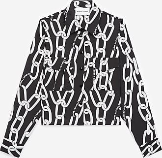 The Kooples Black shirt with white chain motif - WOMEN
